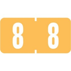"Tab Compatible Mini Numeric ""8"" Labels, Vinyl Kimdura Stock, 1/2"" X 1"" Individual Numbers - Roll of 1000"