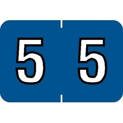 "Barkley NBKM Compatible Numeric ""5"" Labels, Laminated Stock, 1"" X 1-1/2"" Individual Numbers - Roll of 500"