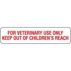 """Vet. Use Only 1-5/8"""" x 3/8"""" White/Red Label (Roll of 500)"""