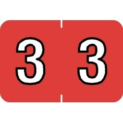 """Barkley NBKM Compatible Numeric """"3"""" Labels, Laminated Stock, 1"""" X 1-1/2"""" Individual Numbers - Roll of 500"""