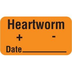 "Heartworm + - Date 1-5/8"" x 7/8"" Fl-Orange Label (Roll of 560)"
