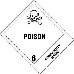 """4"""" x 4-3/4"""" Poison - Inhalation Hazard Labels (500 per Roll)"""