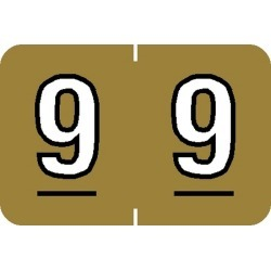 "Barkley NBKM Compatible Numeric ""9"" Labels, Laminated Stock, 1"" X 1-1/2"" Individual Numbers - Roll of 500"