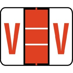 "Tab Compatible ""V"" Labels, Vinyl Kimdura Stock, 1"" X 1.25"" Individual Letters - Roll of 500"