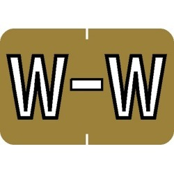 "Barkley ABKM Compatible ""W"" Labels, Laminated Stock, 1"" X 1-1/2"" Individual Letters - Roll of 500"