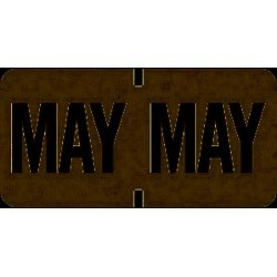 "Tab Compatible ""May"" Month Labels, Vinyl Kimdura Stock, 1"" X 1/2"", Individual Months - Roll of 1000"