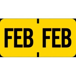 "Tab Compatible ""Feb"" Month Labels, Vinyl Kimdura Stock, 1"" X 1/2"", Individual Months - Roll of 1000"
