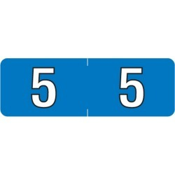 """Barkley NBAM Compatible Mini """"5"""" Numeric Labels, Laminated Stock, 1/2"""" X 1-1/2"""" Individual Numbers - Roll of 500"""