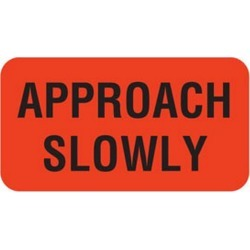 """Approach Slowly 1-5/8"""" x 7/8"""" Fl-Red Label (Roll of 560)"""