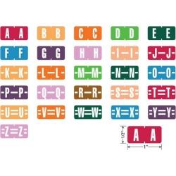 "Tab Compatible Mini Alpha Labels, Vinyl Kimdura Stock, 1/2"" X 1"" Individual Letters - Roll of 500"