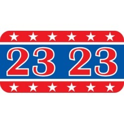 "Patriot Compatible ""23"" Yearband Labels, Patriotic Labels,Laminated Stock 1-1/2"" x 3/4"" - 500 per Roll"