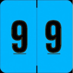 """Barkley FNDBM Compatible  """"9"""" Numeric Labels, Laminated Stock, 1-1/2"""" x 1-1/2"""" Individual Numbers - Roll of 500"""