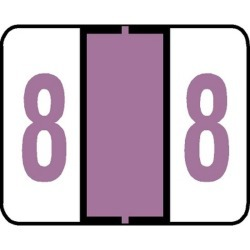 "Tab Compatible Numeric ""8"" Labels, Vinyl Kimdura Stock, 1"" X 1.25"" Individual Numbers - Roll of 500"