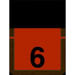 "Tab Compatible Numeric ""6"" Labels, Vinyl Kimdura Stock, 1"" x 3/4"" Individual Numbers - Roll of 500"
