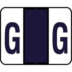 "Tab Compatible ""G"" Labels, Vinyl Kimdura Stock, 1"" X 1.25"" Individual Letters - Roll of 500"