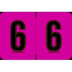 "Barkley NCPM Compatible Numeric ""6"" Labels, Laminated Stock, 1"" X 1-1/2"" Individual Numbers - Roll of 500"