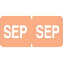 "Tab Compatible ""Sep"" Month Labels, Vinyl Kimdura Stock, 1"" X 1/2"", Individual Months - Roll of 500"
