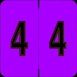 "Barkley FNDBM Compatible  ""4"" Numeric Labels, Laminated Stock, 1-1/2"" x 1-1/2"" Individual Numbers - Roll of 500"