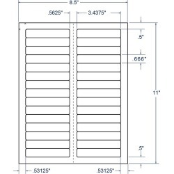 "3.4375"" x 0.66"" White File Folder Labels, 30 Labels per Sheet (100 Sheets per Carton)"