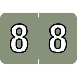 "Barkley NBKM Compatible Numeric ""8"" Labels, Laminated Stock, 1"" X 1-1/2"" Individual Numbers - Roll of 500"