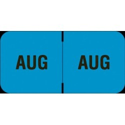 "Barkley FMBLM Compatible ""Aug"" Month Labels, Laminated Stock,1-1/2"" x 3/4"", Individual Months - Roll of 250"