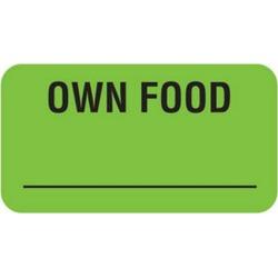 "Own Food 1-5/8"" x 7/8"" Fl-Green Label (Roll of 560)"