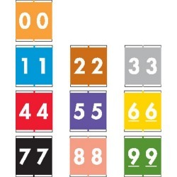 """Barkley NSFM Compatible Numeric Labels, Laminated Stock, 1-11/16"""" X 1-1/2"""" Individual Numbers - Roll of 500"""