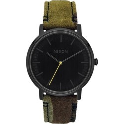 Nixon Porter Leather Watch - black/camo/volt found on Bargain Bro India from tactics.com dynamic for $124.95