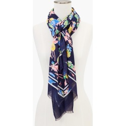 Playful Floral Oblong Scarf - Ink - 001 Talbots found on Bargain Bro from Talbots for USD $45.22