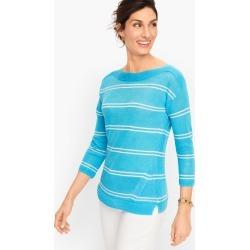 Linen Bateau Neck Sweater - Stripe - Aqua Splash - XXS Talbots found on Bargain Bro from Talbots for USD $75.24
