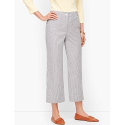 Wide Leg Crop Chinos Pants - Oxford Stripe - Ivory/Indigo - 6 Talbots found on Bargain Bro India from Talbots for $41.99