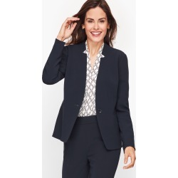 Easy Travel Stand Collar Blazer - Blue - 6 Talbots
