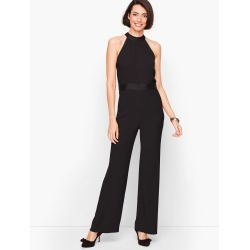 Satin Crepe Halter Jumpsuit Dress - Black - 10 Talbots found on Bargain Bro India from Talbots for $64.99