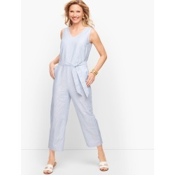 Linen Stripe Jumpsuit Dress - White - 6 Talbots found on Bargain Bro from Talbots for USD $72.95