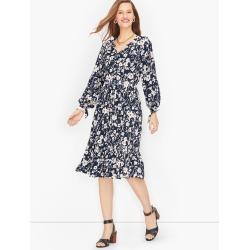 Smocked Split Neck Dress - Indigo/Ivory - XL Talbots found on Bargain Bro Philippines from Talbots for $99.99