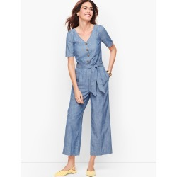 V-Neck Denim Jumpsuit Dress - Montauk Wash - 8 - 100% Cotton Talbots found on Bargain Bro India from Talbots for $49.99