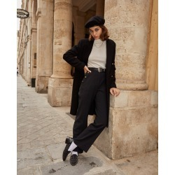 The Kooples - Flared black pants with slit & high waist - WOMEN