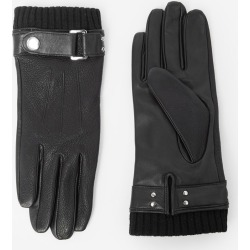 The Kooples - Adjustable black leather gloves w/wool cuffs - MEN