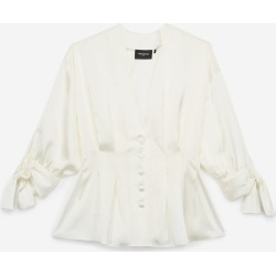 The Kooples - Floaty white shirt with knotted sleeves - WOMEN