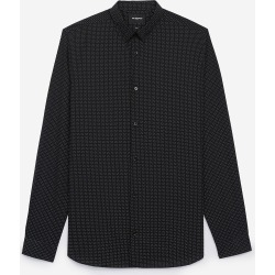 The Kooples - Slim black cotton shirt w/small square print - MEN