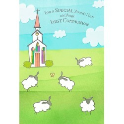 Hallmark Sheep Grazing in Churchyard First Communion Card for Boy