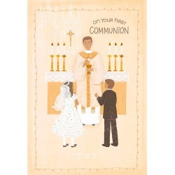 Hallmark Boy and Girl Receiving the Eucharist First Communion Card