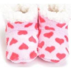 Skidders Pink Hearts Plush Baby Booties