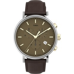 Timex Watch Men's Fairfield Chronograph 41MM Leather Strap Tan Item # Tw2T67700Vq