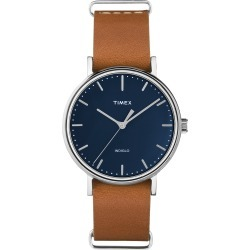 Timex Watch Women's Fairfield 37MM Leather Strap Silver-Tone/tan/blue Item # Tw2P98300Vq