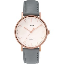 Timex Watch Women's Fairfield 37MM Leather Strap Rose Gold-Tone/gray/cream Item # Tw2T31800Vq