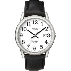 Timex Watch Men's Easy Reader 35MM Leather Strap Silver-Tone/black/white Item # T2H2819J