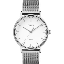 Timex Watch Women's Fairfield 37MM Mesh Band Silver-Tone/silver-Tone/white Item # Tw2R26600Vq