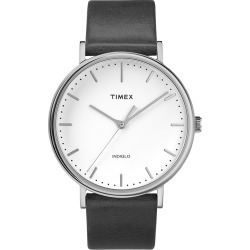 Timex Watch Men's Fairfield 41MM Leather Strap Silver-Tone/black/white Item # Tw2R26300Vq
