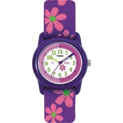 Timex Watch Youth Kids Analog 29MM Elastic Fabric Strap Purple/white Item # T890229J